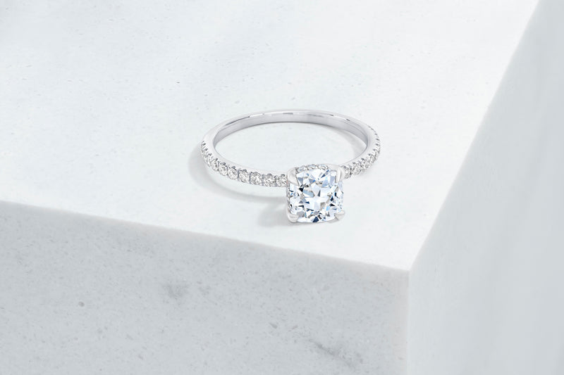 Lexington VOW by Ring Concierge antique-style cushion micropave engagement ring with hidden halo in platinum. 33281434746968