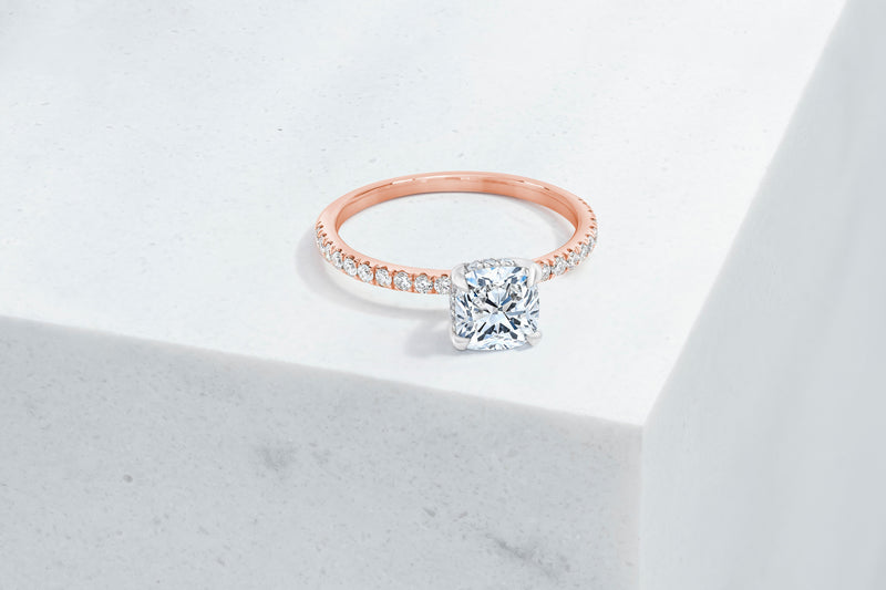 Lexington VOW by Ring Concierge cushion micropave engagement ring with hidden halo in rose gold. 33281433698392