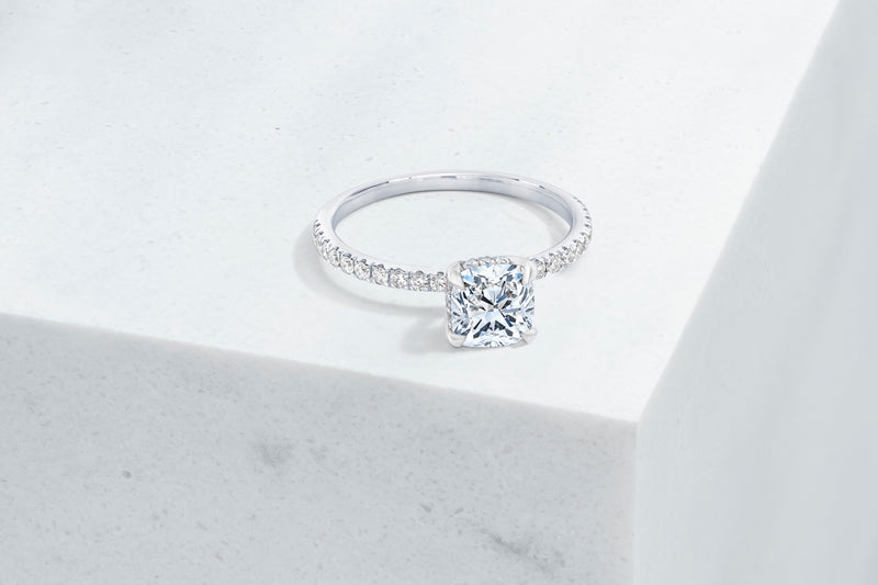 Lexington VOW by Ring Concierge cushion micropave engagement ring with hidden halo in platinum. 33281433763928