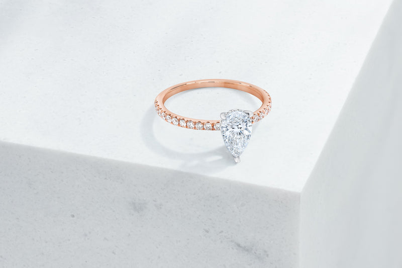 Lexington VOW by Ring Concierge pear shaped micropave engagement ring with hidden halo in rose gold. 33281434288216