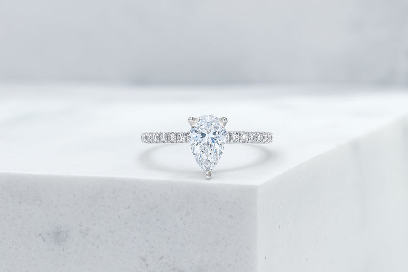 Lexington VOW by Ring Concierge pear shaped micropave engagement ring with hidden halo in platinum . 33281434353752