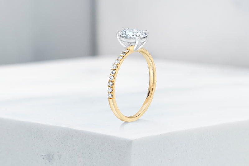 Lexington VOW by Ring Concierge oval micropave engagement ring in yellow gold. 33281433403480