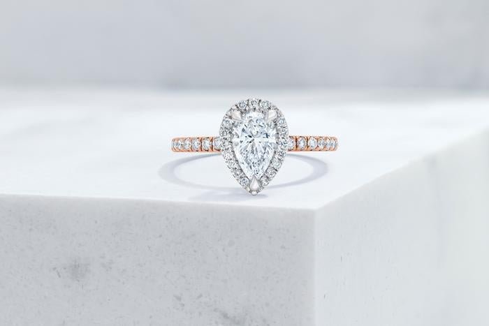 Vow Vow Engagement Rings Pear / 14K Rose Gold + Platinum Prongs / Original Design Delancey