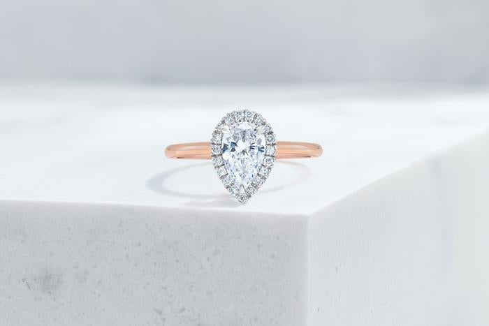 Vow Vow Engagement Rings Pear / 14K Rose Gold + Platinum Prongs / Original Design Essex