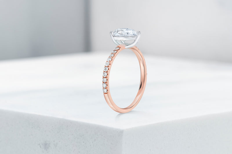 Lexington VOW by Ring Concierge pear shaped micropave engagement ring in rose gold. 33281434255448