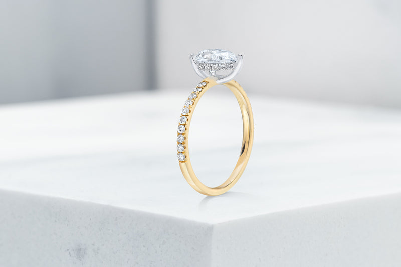 Lexington VOW by Ring Concierge pear shaped micropave engagement ring with hidden halo in yellow gold. 33281434222680