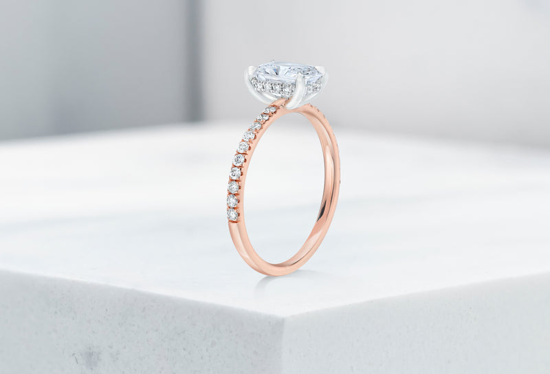 Lexington VOW by Ring Concierge radiant micropave engagement ring with hidden halo in rose gold. 33281434091608