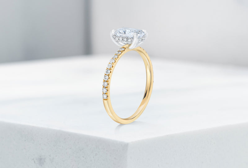 Lexington VOW by Ring Concierge radiant micropave engagement ring with hidden halo in yellow gold .33281434026072