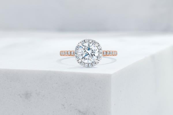 Vow Vow Engagement Rings Round / 14K Rose Gold + Platinum Prongs / Original Design Delancey