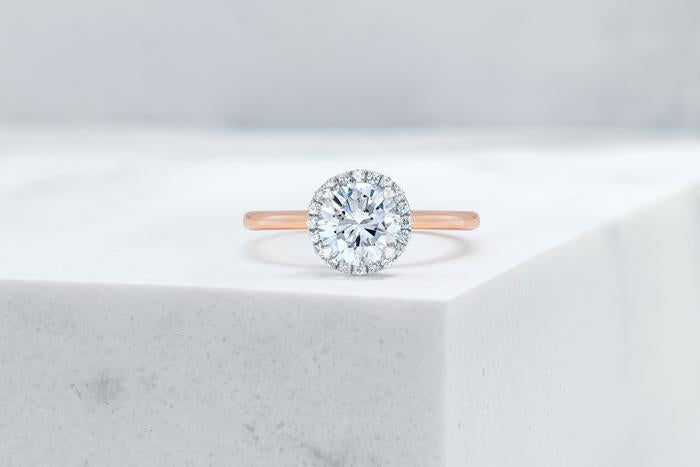 Vow Vow Engagement Rings Round / 14K Rose Gold + Platinum Prongs / Original Design Essex
