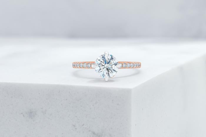 Vow Vow Engagement Rings Round / 14K Rose Gold + Platinum Prongs / Original Design Lafayette