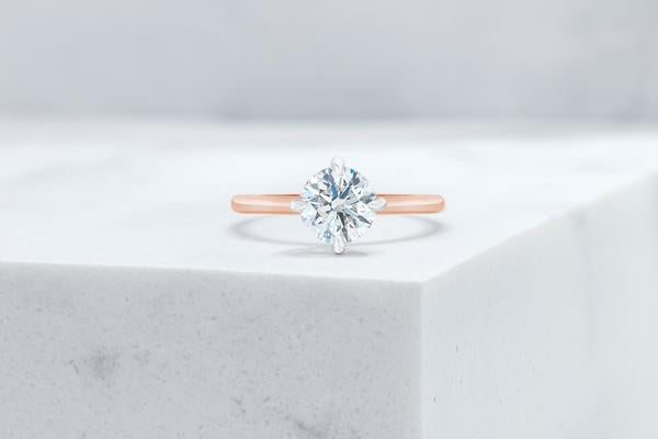 Vow Vow Engagement Rings Round / 14K Rose Gold + Platinum Prongs / Original Design Lenox