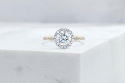Vow Vow Engagement Rings Round / 14K Yellow Gold + Platinum Prongs / Original Design Delancey