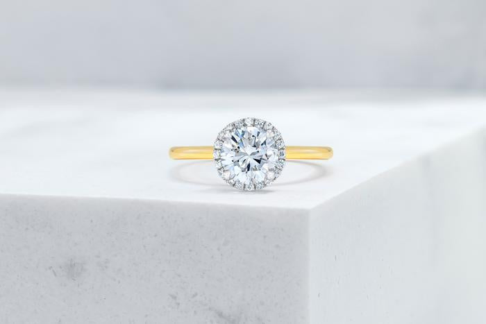 Vow Vow Engagement Rings Round / 14K Yellow Gold + Platinum Prongs / Original Design Essex