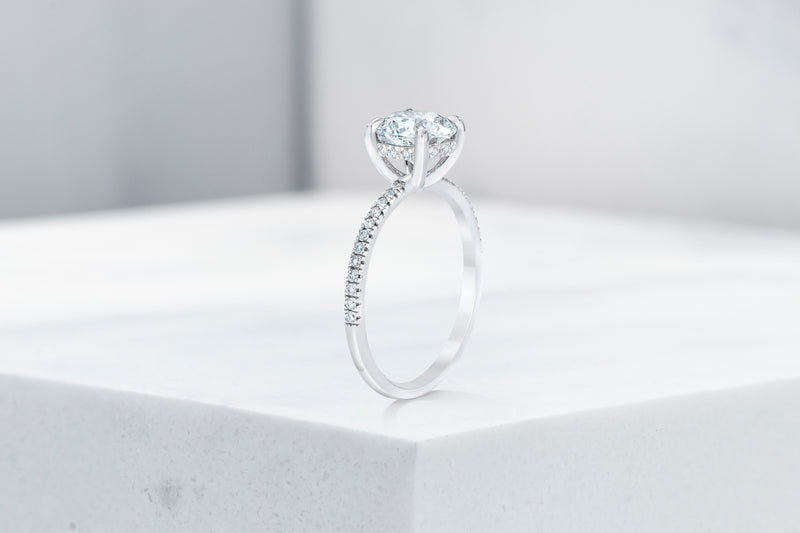 Lexington VOW by Ring Concierge round micropave engagement ring with hidden halo in platinum . 33281433370712
