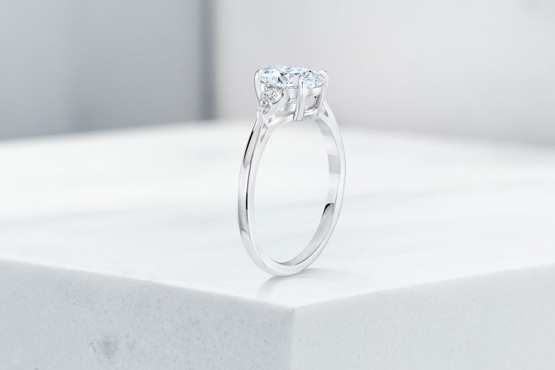 Waverly VOW by Ring concierge oval with pear illusion side stones engagement ring in platinum. 33281406828632