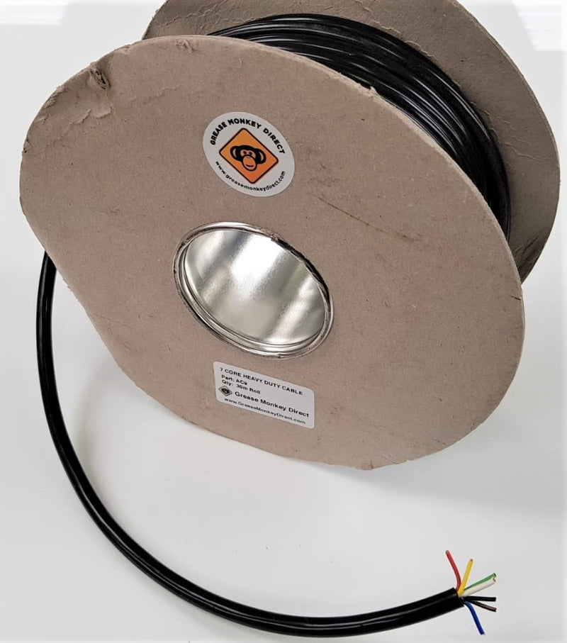7 Core Auto Cable, Black Outer - 30m Roll