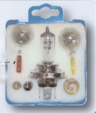 H4 automotive bulb kit in a blue box