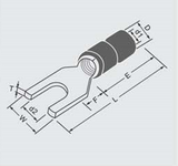 schematic of a 6.4mm blue fork electrical terminal connector