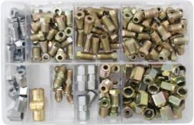 box of assorted brake pipe nuts