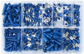Box of Assorted Blue Electrical Terminals