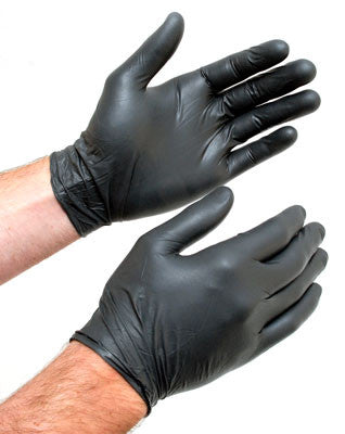 black nitrile gloves on hands