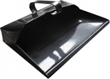 black metal dust pan