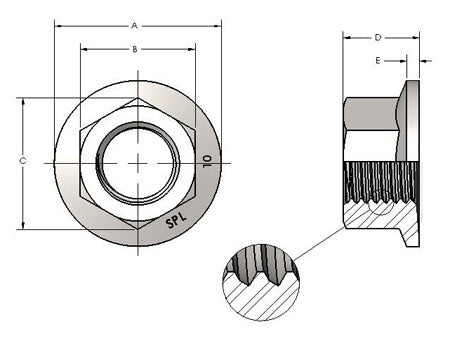 diagram of a steel flanged nut