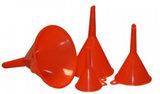 four red plastic funnels