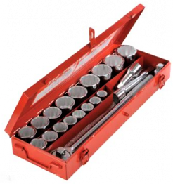 21 piece socket set in red metal box