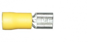 Yellow Female Spade 6.3mm Electrical Connectors