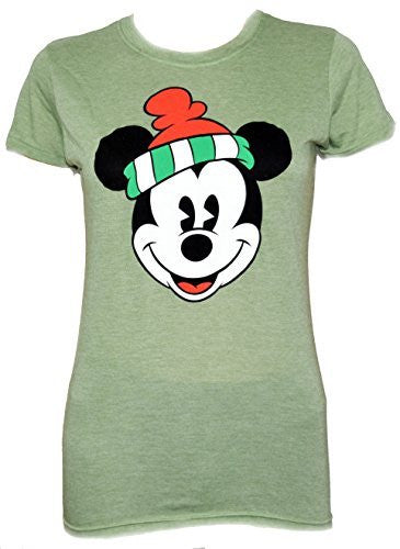 Disney Classic Christmas Mickey Mouse Face Juniors T-shirt