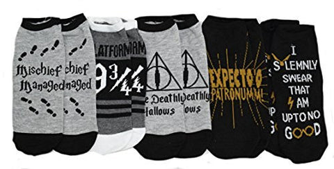 Harry Potter Deathly Hallows 5 Pack Ankle Socks - Coast City Styles