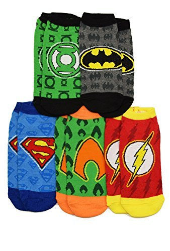 DC Comics Justice League Logos Flash Batman Superman 5 Pack Ankle Socks
