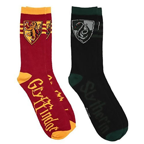 Harry Potter Gryffindor Slytherin 2 Pairs Pack Men's Sock