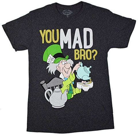 Alice In Wonderland Mad Hatter U Mad Bro? T-shirt - Charcoal Heather / Large