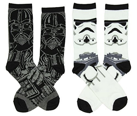 Star Wars Men's Darth Vader & Stormtrooper Casual Crew Socks 2 Pack