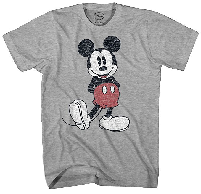 Disney Mickey Mouse Distressed Standing Pose Look Heather Grey T-Shirt
