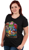 Beauty and the Beast Stained Glass Window Frame Juniors T-shirt