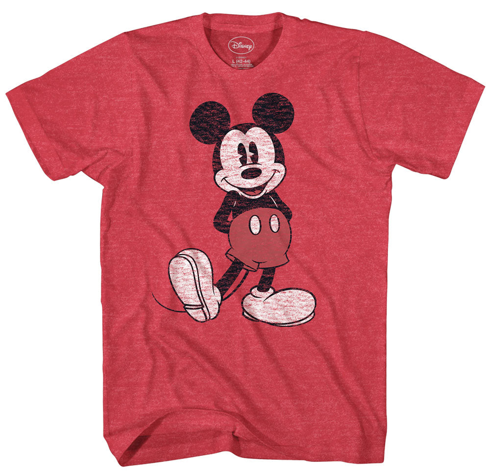 Disney Mickey Mouse Distressed Standing Pose Look Heather Red T-Shirt