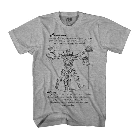 Marvel Vitruvian Deadpool Mens Heather Grey T-Shirt