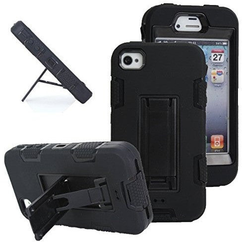 Hybrid Armored Case with Kickstand for Apple iPhone 4/4S Black/Black