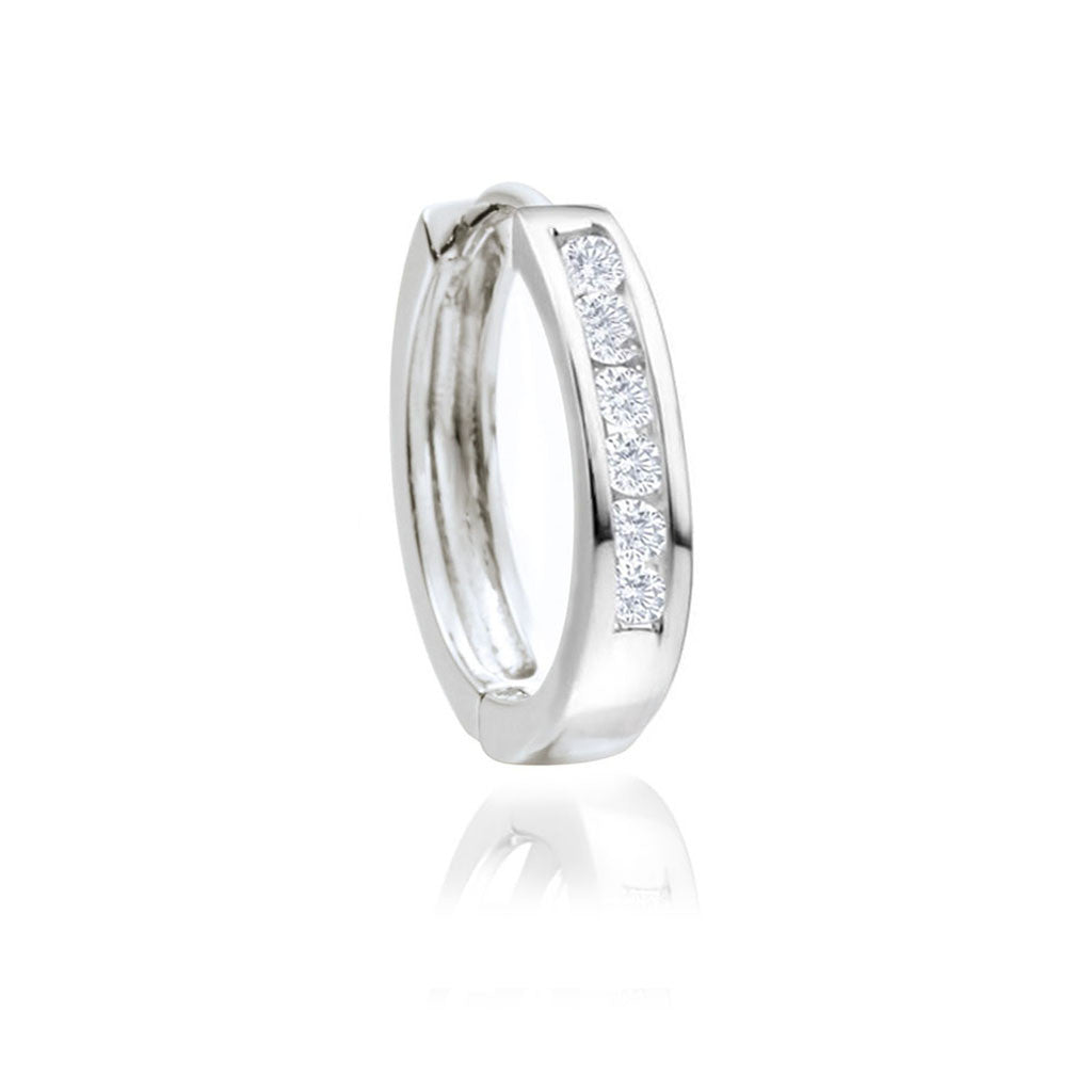 Sterling Silver Hinged Huggie With Cubic Zirconia