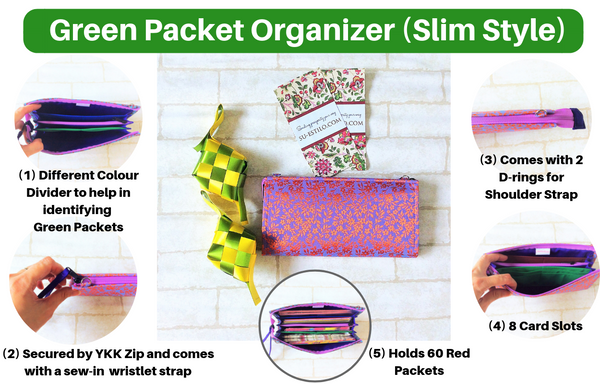 SLIM Green Packet Organizer | Hari Raya Packet Organiser | Hari Raya Bag | Slim Organiser 70 Green Packets | Slim Hari Raya Design 1B11