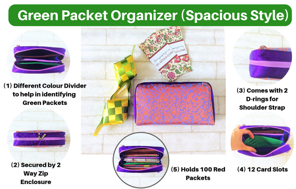 SPACIOUS Green Packet Organizer | Hari Raya Pouch | Green Packet Pouch | Spacious Organizer 100 Green Packets | Spacious Green Packet Design 1B06