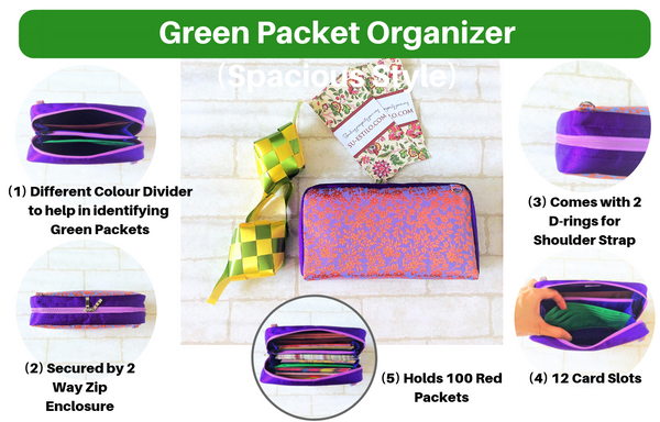 SPACIOUS Green Packet Organizer | Hari Raya Pouch | Green Packet Pouch | Spacious Organizer 100 Green Packets | Spacious Green Packet Design 1B01