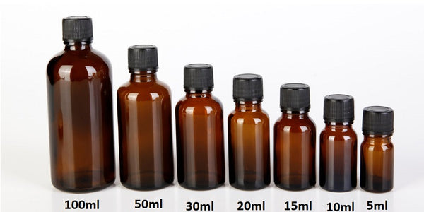 Amber Brown Dripper Bottles | 5ml to 100ml Dripper Bottles | Essential Oil Glass Bottles