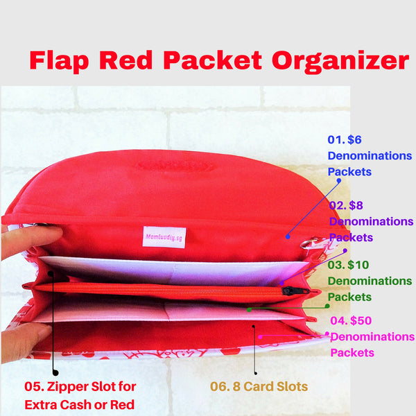 FLAP Ang Bao Organizer |  Pouch for Red Packets | Flap Organiser 50 Red Packets | Flap Chinese Horoscope Design 14B18