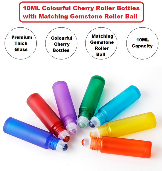 Set of 7 x 10ML Colored Bottles with Gemstone Rollers Balls | 10ml Gemstone Roller Set | Thick Colored Roller bottles with gemstone roller balls