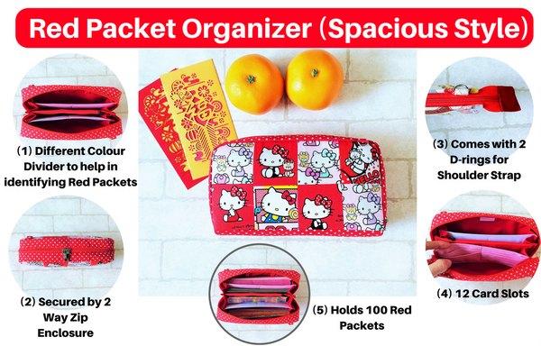 SPACIOUS Hong Bao Organizer | Ang Pao Wallet | Spacious Organizer 100 Red Packets | Floral Design 13B06